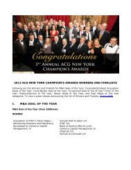 2013 acg new york champion's awards winners and finalists i. m&a ...