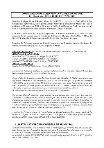 COMPTE RENDU DE LA REUNION DU 29 ... - Ville de Harnes