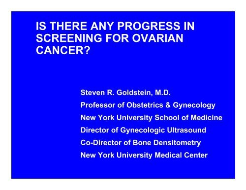 Is There Any Progress In Screening For Ovarian Cancer