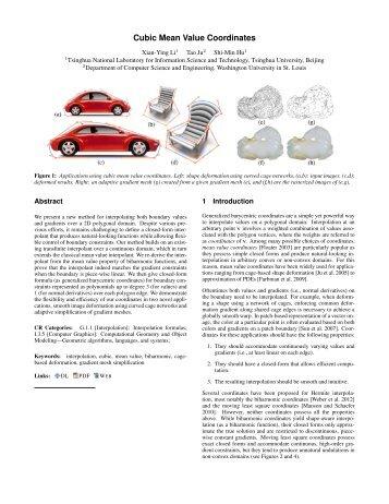 Cubic Mean Value Coordinates - Graphics & Geometric Computing ...