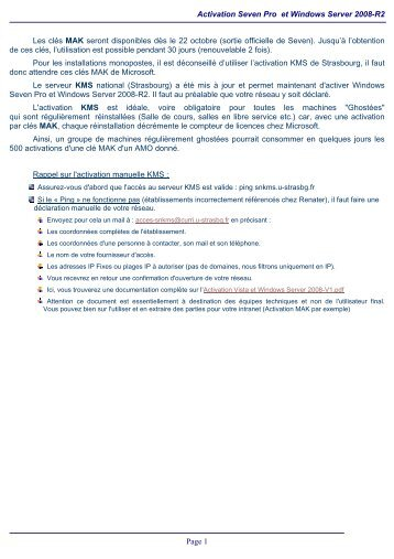 Activation Seven Pro et Windows Server 2008-R2 Page 1 Les clés ...