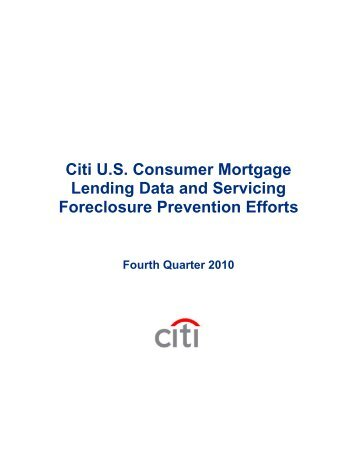 Citi US Consumer Mortgage Lending Data and Servicing - Citigroup