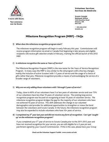 Milestone FAQ 2012 - Scouts Canada