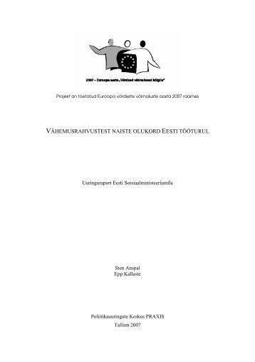 Vähemusrahvustest naiste olukord Eesti tööturul : uuringuraport