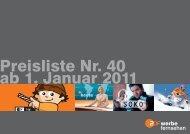 Preisliste Nr. 40 ab 1. Januar 2011 - ZDF Werbefernsehen