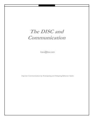 The DISC and Communication - Keller Williams Realty