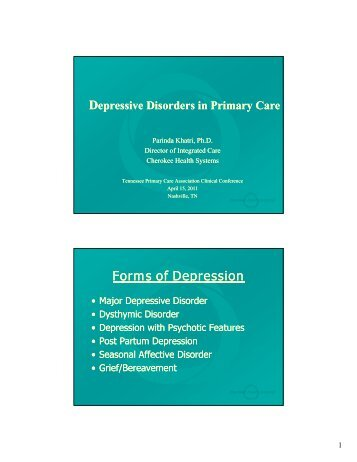 Depressive Disorders in Primary Care - Tnpcaeducation.org
