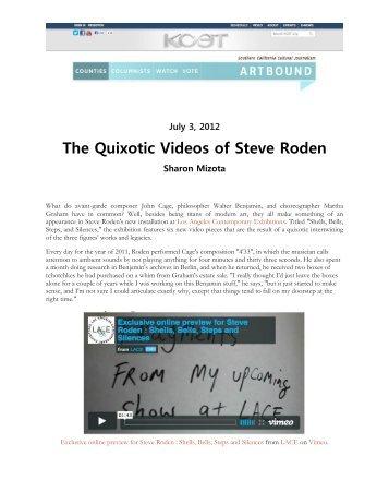 The Quixotic Videos of Steve Roden - LACE