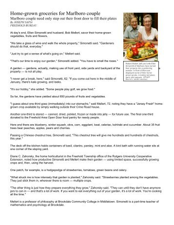 Home-grown groceries for Marlboro couple - Monmouth County