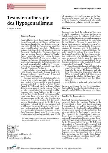 Testosterontherapie des Hypogonadismus - Schweizerischen ...