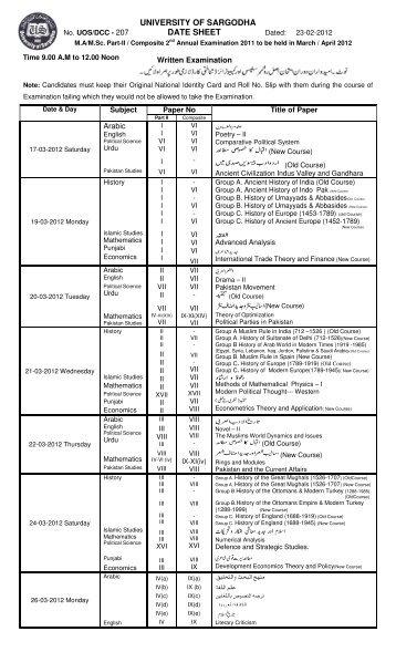 University of Sargodha MA MSc Part 2 Date Sheet 2012 - ilmkidunya