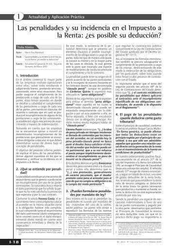 Las penalidades y su incidencia en el Impuesto a la Renta - Revista ...