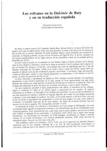 Los refranes en la Dulcinée de Baty y en su ... - Paremia.org