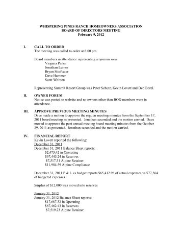 WPR Board Meeting Minutes 2-9-12 - Summit Resort Group HOA ...