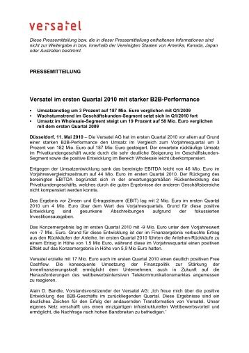 Versatel im ersten Quartal 2010 mit starker B2B-Performance