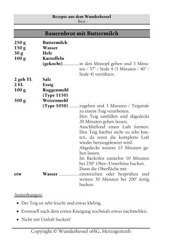 Bauernbrot mit Buttermilch - Wunderkessel