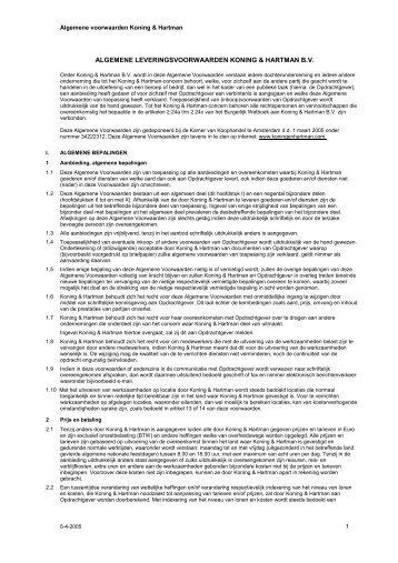 algemene leveringsvoorwaarden koning & hartman bv