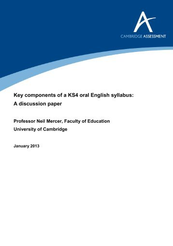 Key components of a KS4 oral English syllabus: A discussion paper