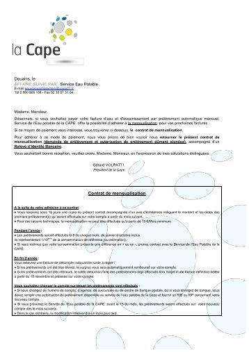 Contrat de mensualisation - CAPE