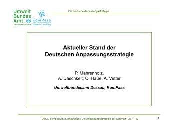 Aktueller Stand der Deutschen Anpassungsstrategie - Events
