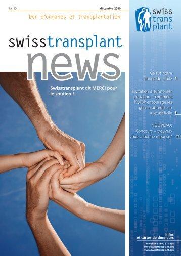 Plus d'articles à lire et participation au concours... - Swisstransplant
