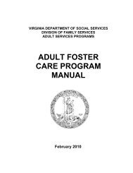 ADULT FOSTER CARE - Virginia Department of Social Services