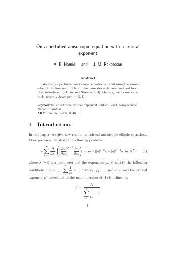 On a pertubed anisotropic equation with a critical exponent 1 ...