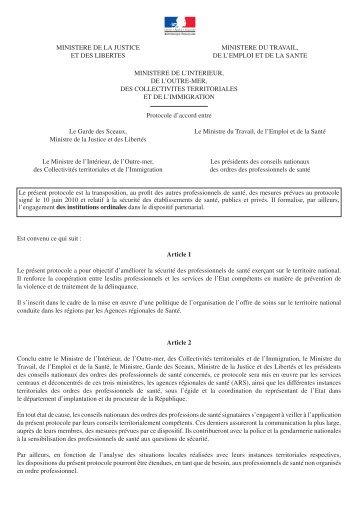 Protocole - Santé-Sécurité-Justice-Ordres - Conseil National de l ...