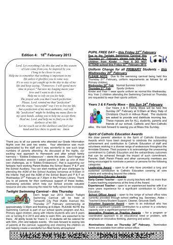 Newsletter Edition 4 2013 - St Edwards Primary School