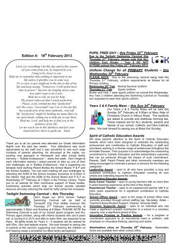 Newsletter Edition 4 2013 - St Edwards Primary School