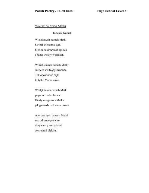 Polish Poetry 14 30 Lines High School Level 3 Wiersz Na
