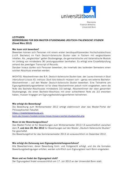 Bewerbung Zulassung Universitat Bonn 11
