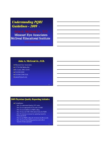 Understanding PQRI Guidelines Guidelines - 2009
