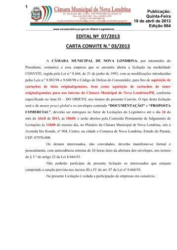 edital nº 07/2013 carta convite n.° 03/2013 - Prefeitura de Nova ...