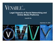 Legal Aspects of Social Networking and Online ... - Venable LLP