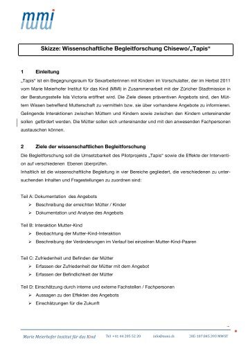 "Skizze: Wissenschaftliche Begleitforschung Chisewo/""Tapis"" - Marie ..."