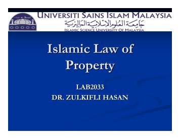 Islamic Law of Property
