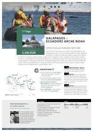 aMERIKa   GaLaPaGos – ecuaDoRs aRche Noah 5.590 euR
