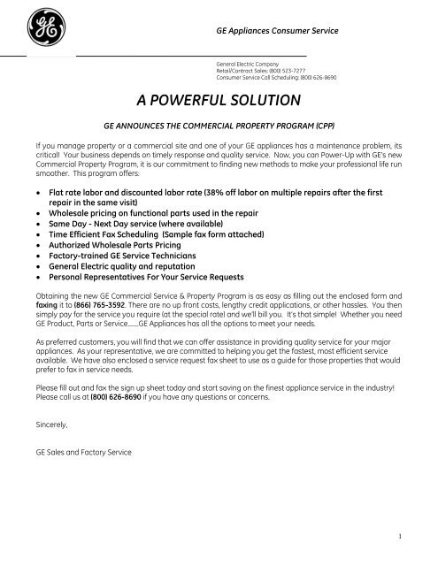 A POWERFUL SOLUTION - GE Appliances