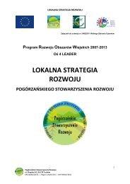 LOKALNA STRATEGIA ROZWOJU - LEADER – Pogórzańskie ...