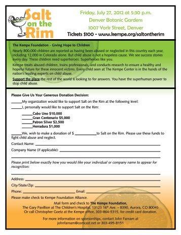 Salt on the Rim Sponsorship Opportunities - Kempe Children's Center