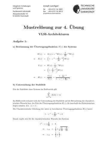 Mustrelösung zur 4.¨Ubung - Technische Universität Darmstadt