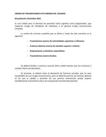 UNIDAD DE TRAUMATISMOS ALTA ENERGIA DR. CAVADAS ...