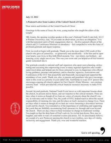 a pastoral letter from leaders of the united church of christ