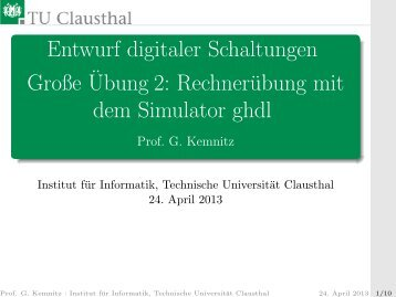 Rechnerübung mit dem Simulator ghdl - TU Clausthal