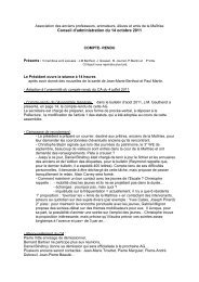 Conseil d'Administration du 14 octobre 2011 - Les Maitrisiens