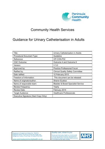 Catheterisation in Adults - the Royal Cornwall Hospitals Trust ...