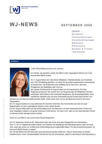 Newsletter der Wirtschaftsjunioren München - August 2008