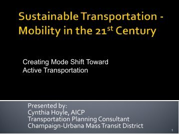 Sustainable Transportation - Mobility in the 21st Century - Illinois ...