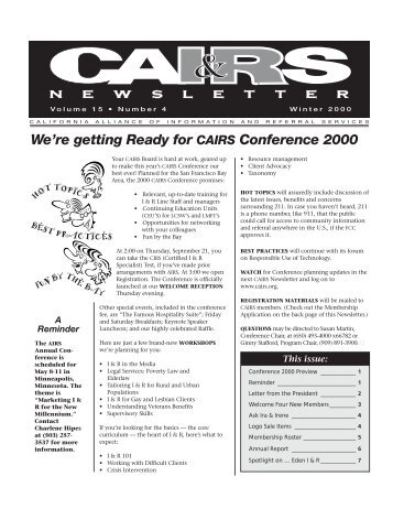Winter 2000 - California Alliance of Information & Referral Services